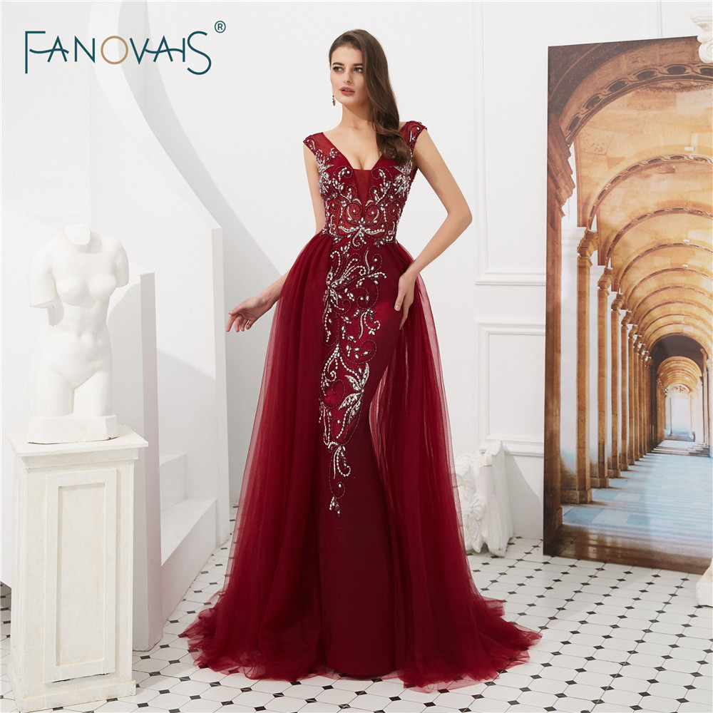 2 Color Burgundy   Evening     Dresses   Long Luxury Prom   Dress   2019 Tulle V-Neck Mermaid   Evening   Gown Beaded Crystal Robe de Soiree NS2