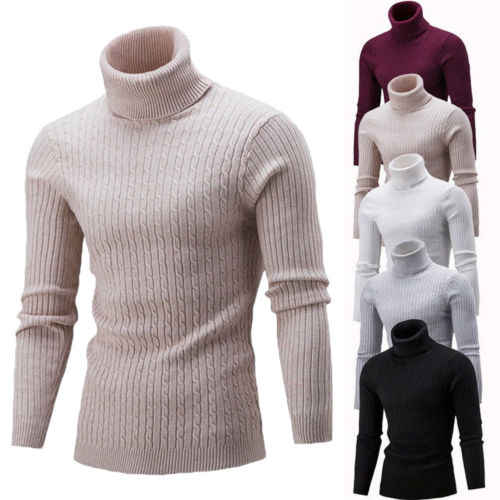 Mens Roll Turtle Polo Neck Sweater Tops Long Sleeve Warm Jumper Knitted Pullover