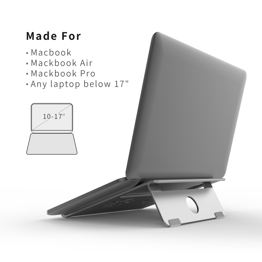 "aluminum ventilated laptop notebook stand and universal laptop holder up to 17"" inches laptop"