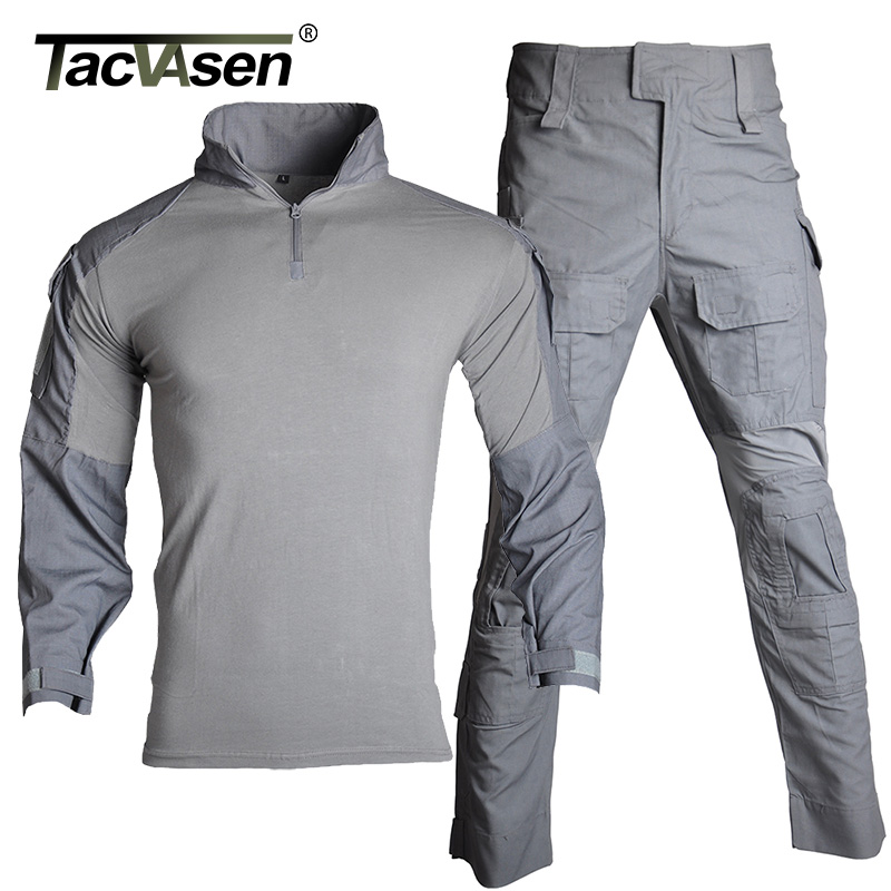 TACVASEN Summer Military Clothing Tactical Uniforms Camouflage Airsoft T shirt Paintball Cargo Trousers Assault Army Combat