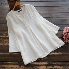 2019 Top ZANZEA Women Blouse Work Office Shirt Casual V Neck Solid Blusas Cotton Linen 3/4 Sleeve Blouses Tunic Tops Plus Size v neck plus size tunic top