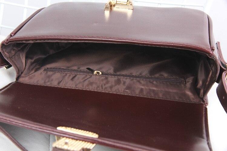 Dell'unità Stile Elegante borgogna Blocco Crossbody Metallo Flap Brown Disegno Femminile New Bag Lusso Ol Spalla Marca Delle il Vintage Elaborazione Affari Nero Donne Borsa Cuoio Di Xzqwnax4d6