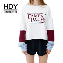 HDY Haoduoyi 2019 Euramerican Fashion Comfortable Figure-flattering Contrast Stitching Letter Printed Round Neck Sweatershirt
