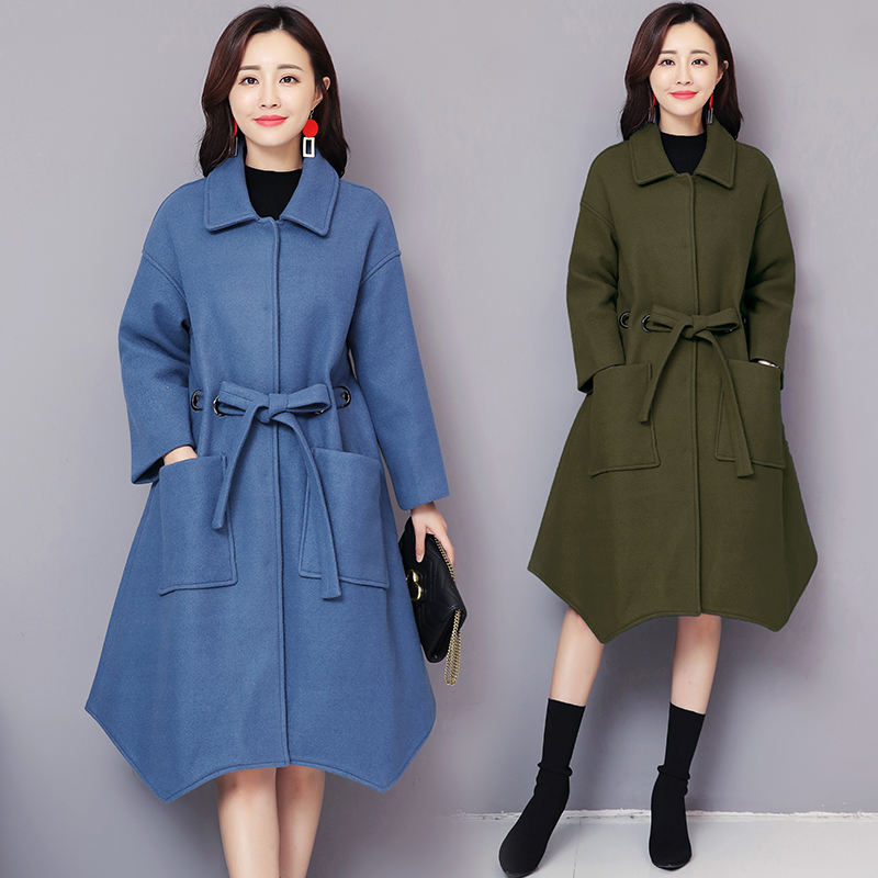 Winter 2018 new design tweed popular women's coat joker long sleeve cloak overcoat Korean fashion belt loose top clothes S 5XL
