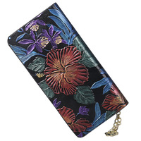 Flower Embossed Genuine Leather Women Wallet Female Long Walet Women Lady Clutch Money Bag Coin Purse Phone Pocket Portomonee