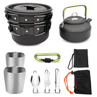 Portable 2 3 People Camping Outdoor Cookware Teapot Pan Set With Teacup Knife Fork Spoon Folding Hiking Picni Tableware