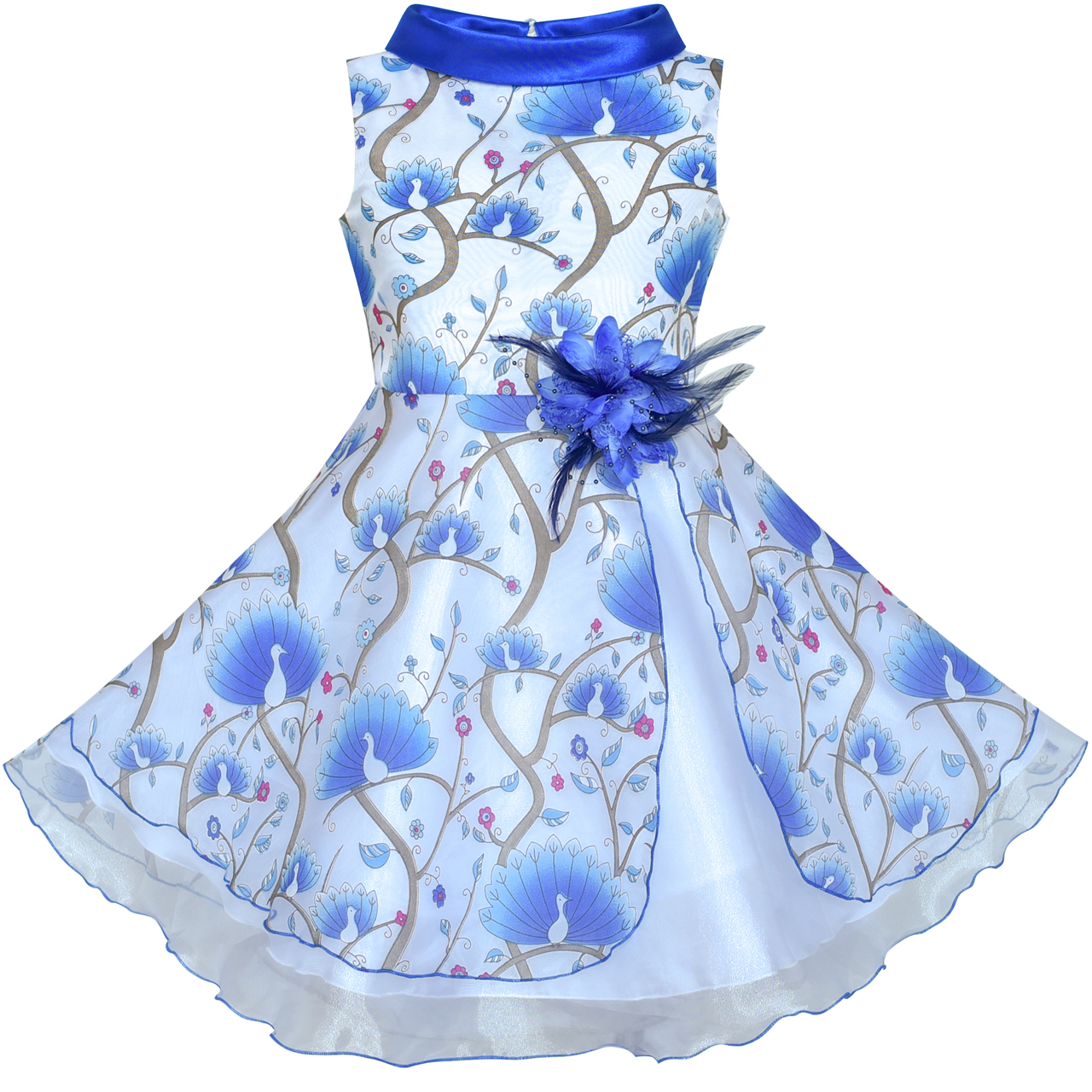 Flower     Girls     Dress   Blue Peacock Wedding Bridesmaid 2019 Summer Princess Party   Dresses   Kids Clothes Pageant Sundress Vestidos