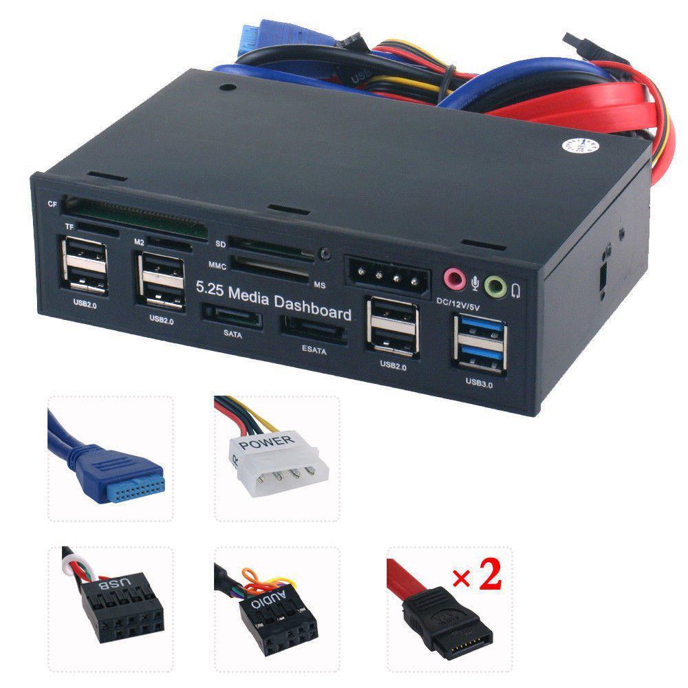 USB 3,0 Hub eSATA SATA Puerto lector de tarjetas interno ordenador Media Panel frontal Audio para SD MS CF TF M2 MMC tarjetas de memoria Concentrador micro USB 3,0 Combo 3 puertos Spliter adaptador de corriente TF/SD/MS/M2 lector de tarjetas todo en uno PC Accesorios de ordenador