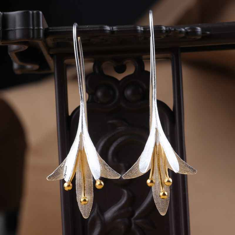 REETI 925 sterling silver Flowers Long Earrings For Women Elegant Lady Prevent Allergy Silver 925 Earings Fashion Jewelry