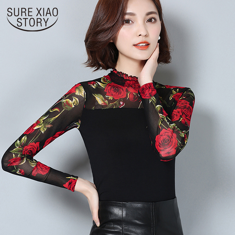 2018 New Fashion Fall Winter lace Women   Blouse     shirt   Women   Shirts   Long Sleeve Floral   Shirt   Plus Size   Blouse   women clothes 60i 25