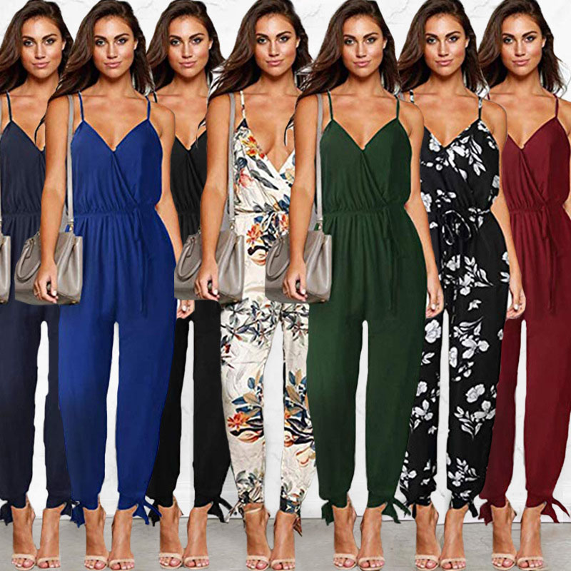 Sexy Bandage Long Romper Women Jumpsuit Summer Lady Side Split Trousers Beach Pants Coveralls Female Frock Plus Size S-3XL