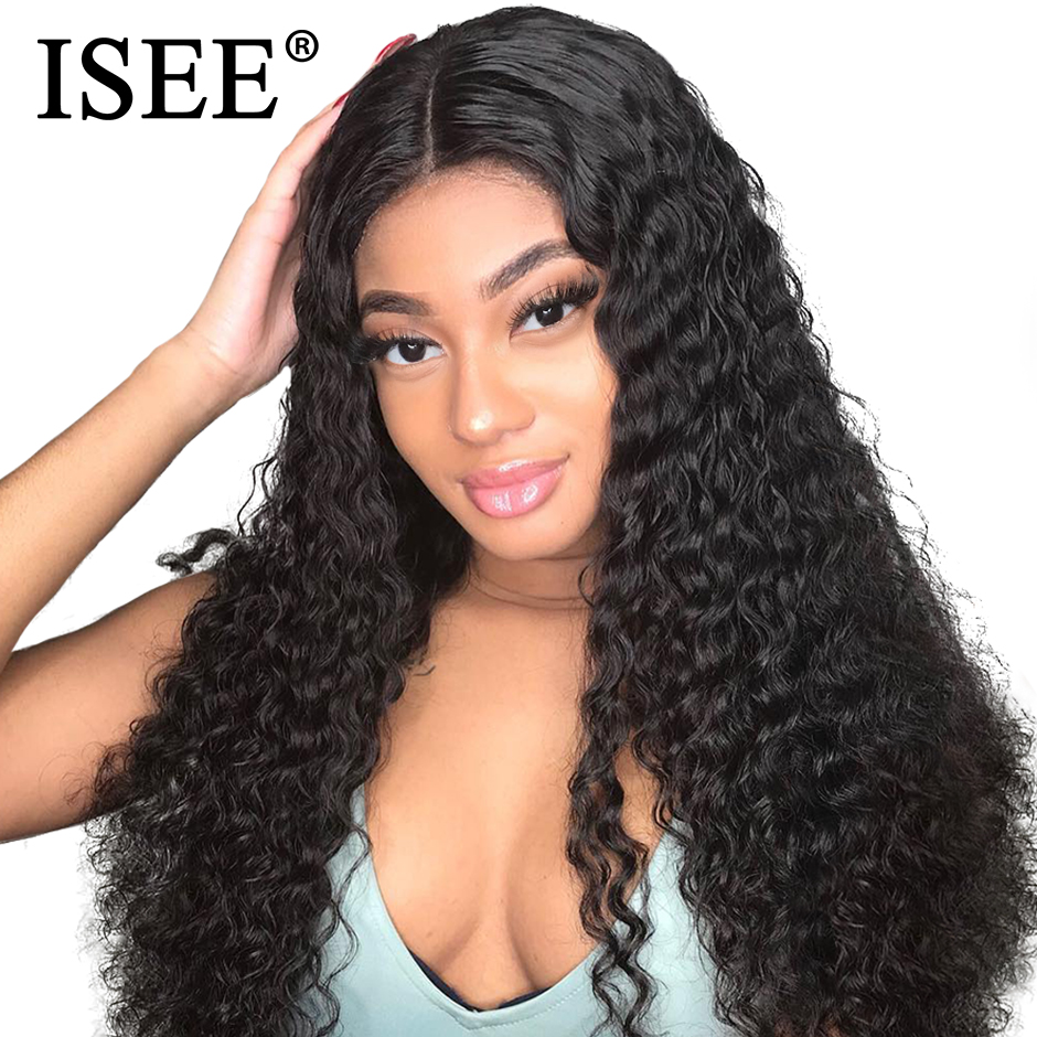 Kinky Curly Wigs For Black Women Malaysian Lace Wigs 150% Density Human Hair Wigs 13X4 Remy ISEE HAIR Lace Front Human Hair Wigs