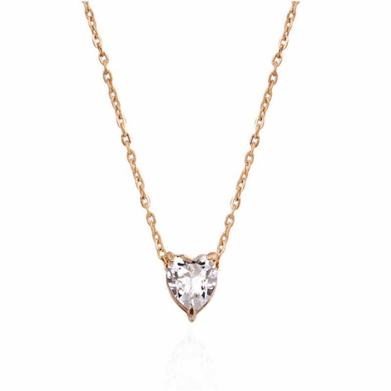 New Korean Popular Women Necklace Personality Fashion Necklace Zircon Heart-shaped Necklaces Clavicular Chain Love Necklaces