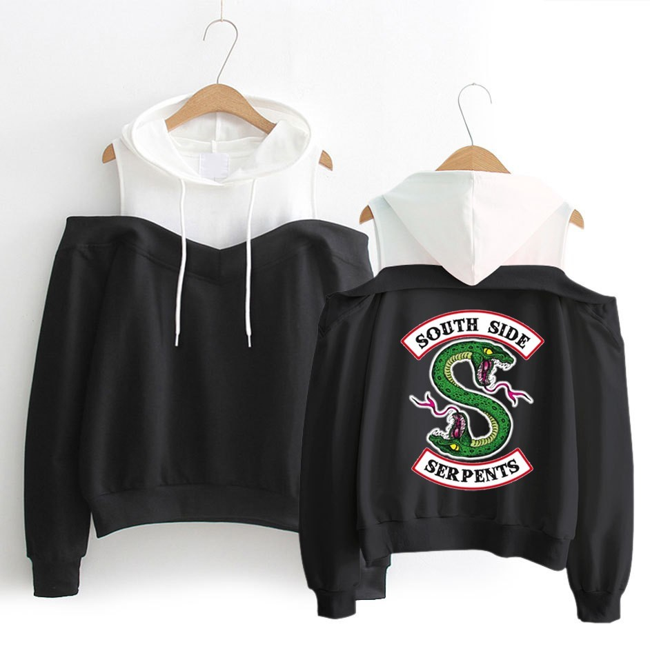 Riverdale South Side Serpents Hoodies Southside Serpents Sweatshirts Women Long Sleeve Off-Shoulder Exclusive Hooded Clothes