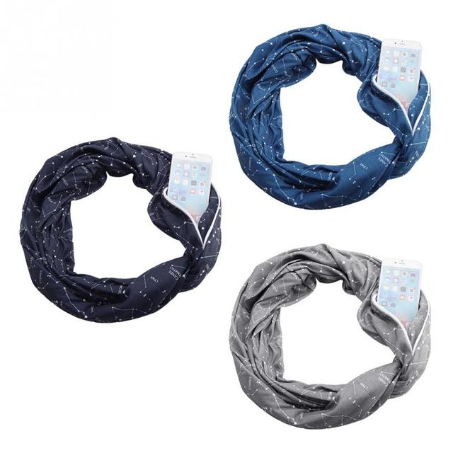 Unisex Loop Scarf with Secret Zipper Pocket