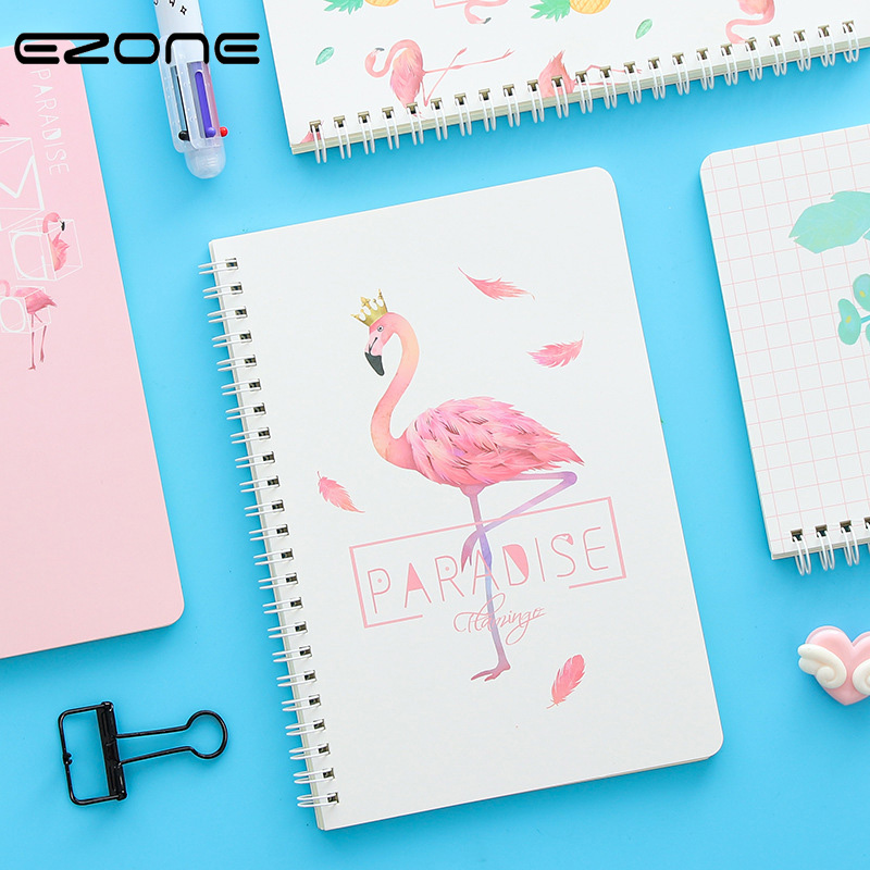EZONE Coli Notebook Students Notes Planner Kawaii Flamingo Printed Spiral Notepad Traveler Journey Memo Pad Line Pages Notebook