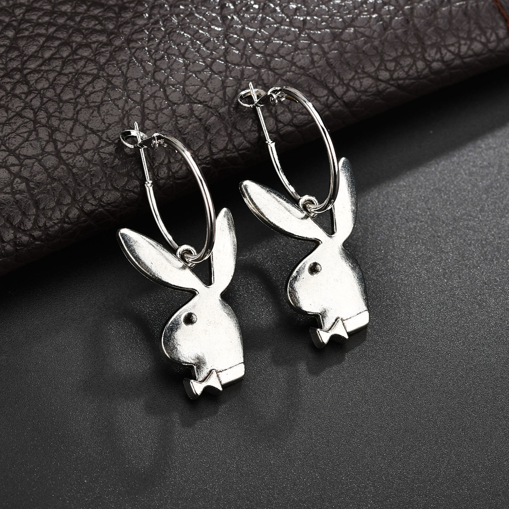 Cute Rabbit Drop Earrings For Women Silver Color Ear Jewelry Lovely Animal Bunny Earrings Birthday Gift Wholesale Accessories(China)