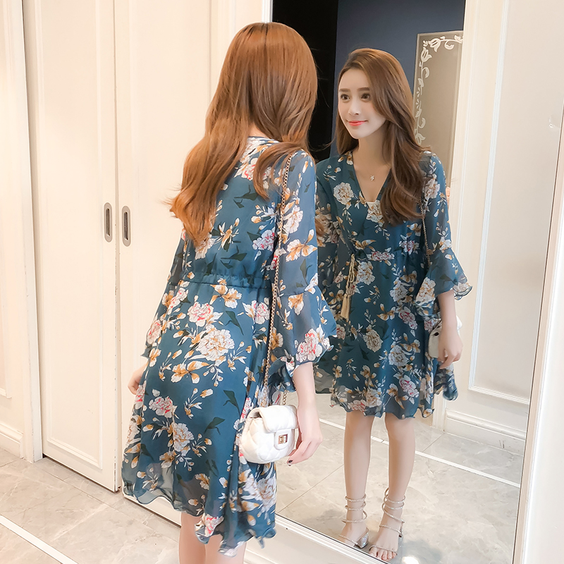 New Women dress Flare Sleeve Print Chiffon V-Neck Have A Waist Dresses Pink Blue 3332 3