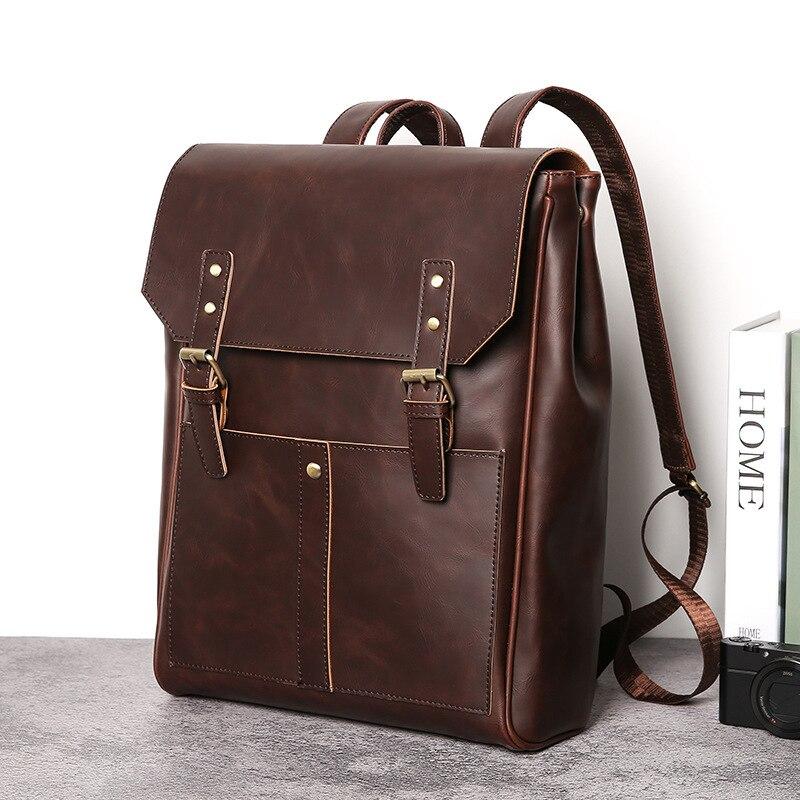 Sac à dos Vintage homme cuir fou cartable tendance Mochilas rétro sac à dos imperméable épaule Plecak sac de voyage adolescent Rugtas