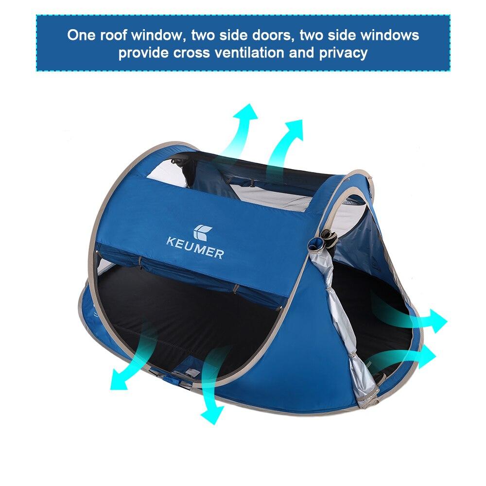 3-4 personne Pop Up tente de camping Grand Automatique Configuration Instantanée Pliable Voyager abri de plage anti-UV Revêtement avec un sac de transport - 5