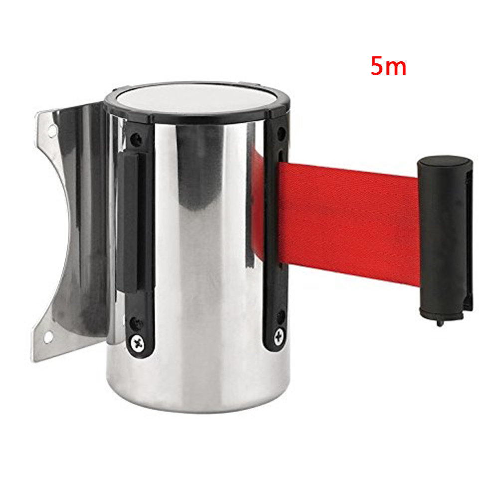 Crowd Control Outdoor Stainless Steel Wall Mount Red Belt Retractable Ribbon Barrier Sport Stanchion Queue 2m/ 5mCrowd Control Outdoor Stainless Steel Wall Mount Red Belt Retractable Ribbon Barrier Sport Stanchion Queue 2m/ 5m