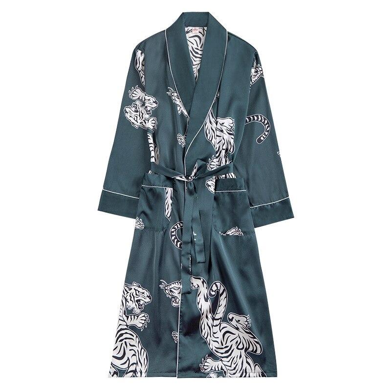 Peignoir Homme Herbst Langarm Robe Männlichen Bademäntel Seide Männer Lange Nachtwäsche Hause Service Bad Robe