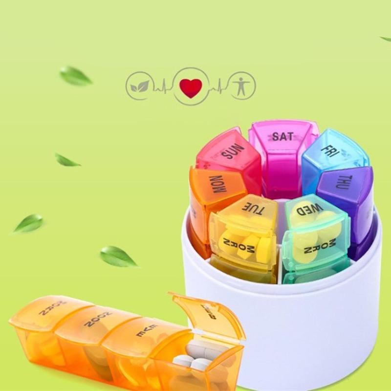 Caixa de armazenamento de pílulas, portátil, 7 dias, 28 grades, semanal, colorida, viagem, caixa de medicamentos, organizador de tablet, caixa de remédios