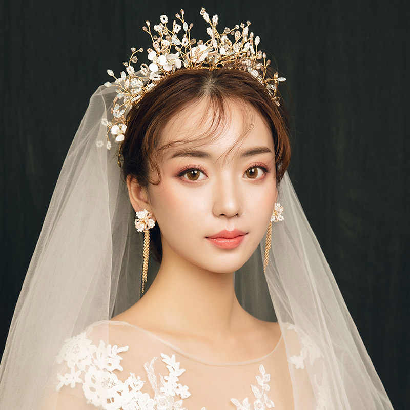 Korean Bridal Wedding Hair Accessories Bride Korona Korony Hair Jewelry Tiaras and Crowns Headband Hairband Diademe Diadem Girls