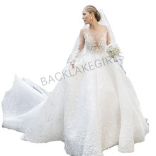 2019 Ball Gown Wedding Dresses train Long Sleeves Gowns