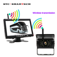 SMARTECH 7 inch Monitor with Wireless Rear View Camera for Truck Bus RV Van Trailer pickup Wireless Parking Assistance System