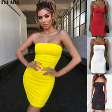 9522a25d577fd1 Vrouwen Sexy Strapless Tube Ruches Bodycon Dress Off Shoulder Mouwloze  Party Clubwear Stretchy Jurk