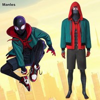 Spider Man: Into the Spider Verse Costume Homecoming Miles Morales Cosplay Carnival Adult Superhero Spiderman Halloween Coat