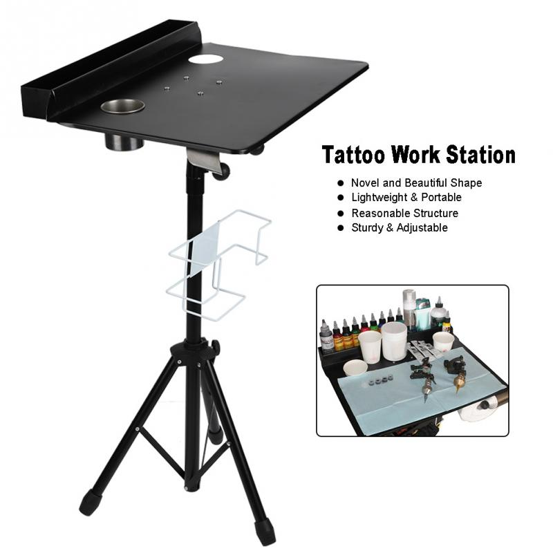 Detachable Tattoo Mobile Work Station Stand Portable Adjustable Tattoo Needles Cup Desk Table Body Make up