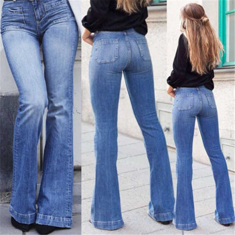 d536735d76a 2019 New Womens Flare Bell Bottom Denim Pants High Waist Slim Bootcut Jeans  Trousers