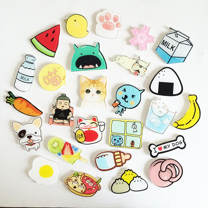 1PCs/Set Cartoon Cat Bird Milk Egg Dog Brooch Acrylic Badges Icons On The Backpack Pin Badge Decoration Badges For Clothing