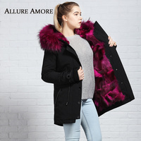 Winter Real Fur Parkas Brand hooded Warm Women Jacket Real Fur Coats Blue Fox Liner Raccoon Fur Wine Red Big Collar AllureAmore