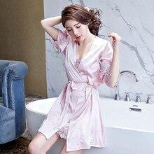 New Women Ladies Sexy Satin Silk Night Dress Bathrobe Nightgown Sets 2019 Kimono Lingerie Nightwear