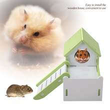Hamster House Cute Wooden Double Layer Sleeping House with Playground Slide(China)