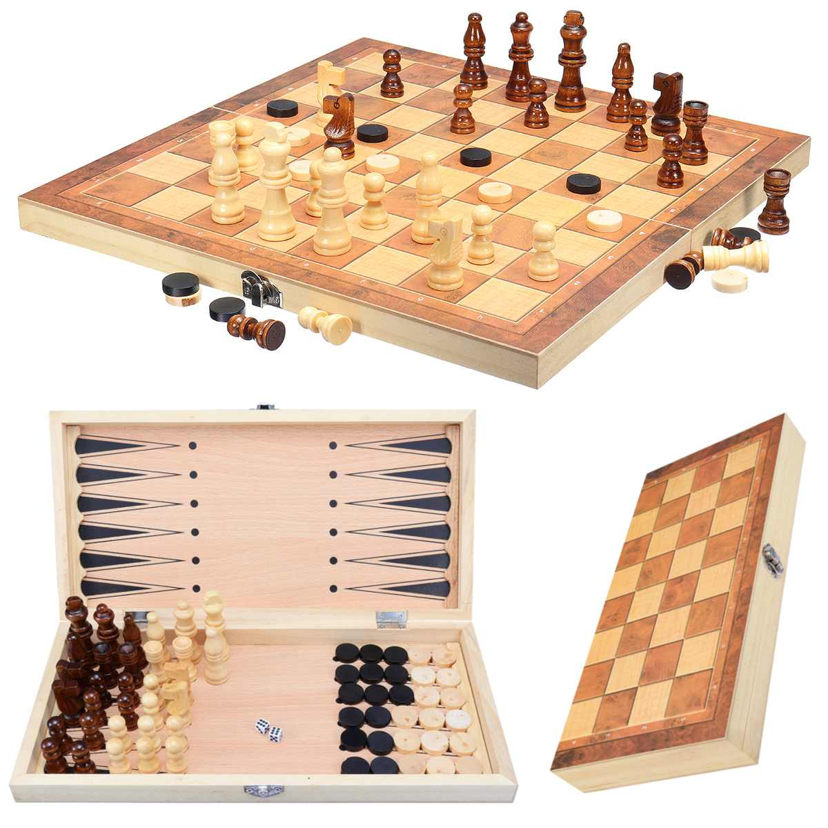 34 X 34cm Folding Chessboard Wooden Chess Board Box Educational Magnetic Chessmen Set Portable Entertainment Desktop Chess Game