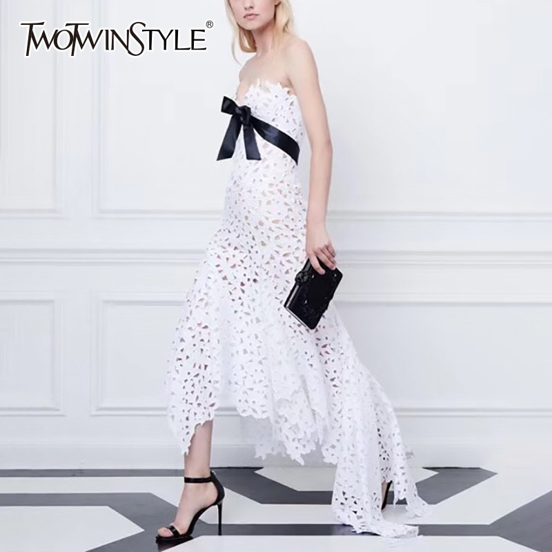 TWOTWINSTYLE Off Shoulder Asymmetrical Dress Women Strapless Sleeveless Bowknot High Waist Hollow Out Maxi Dresses Female 2019-in Dresses from Women's Clothing    1