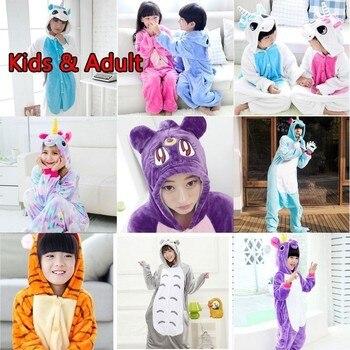 Mono enterizo niños dormir unicornio franela unicornio Navidad pijamas kig  niños Panda manta onesie niños familia 9046909b74a9