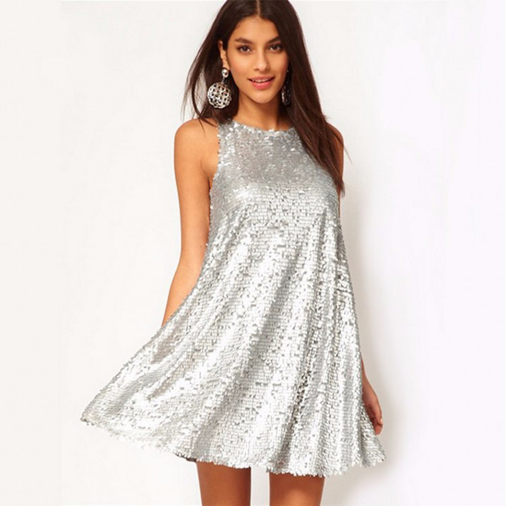 Sexy Women Sequin Dress Vintage Swing Dress Sleeveless 1920s Evening Party Dresses Female Clubwear Mini Silver Shiny Dress 2019