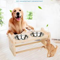Stainless Steel Pet Dog Feeding Food Bowls Double Bowl Solid Wooden Dining Dish Rack with Cat Frog Shapes for pet dog supplier