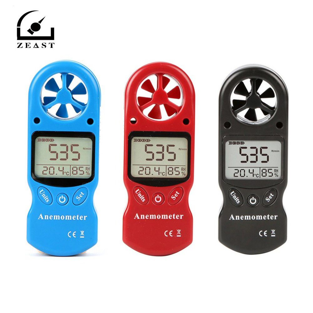 ZEAST KT-300 Mini Multipurpose Anemometer Digital Anemometer LCD  Wind Speed Temperature Humidity 3 In 1  Wind Speed Meter