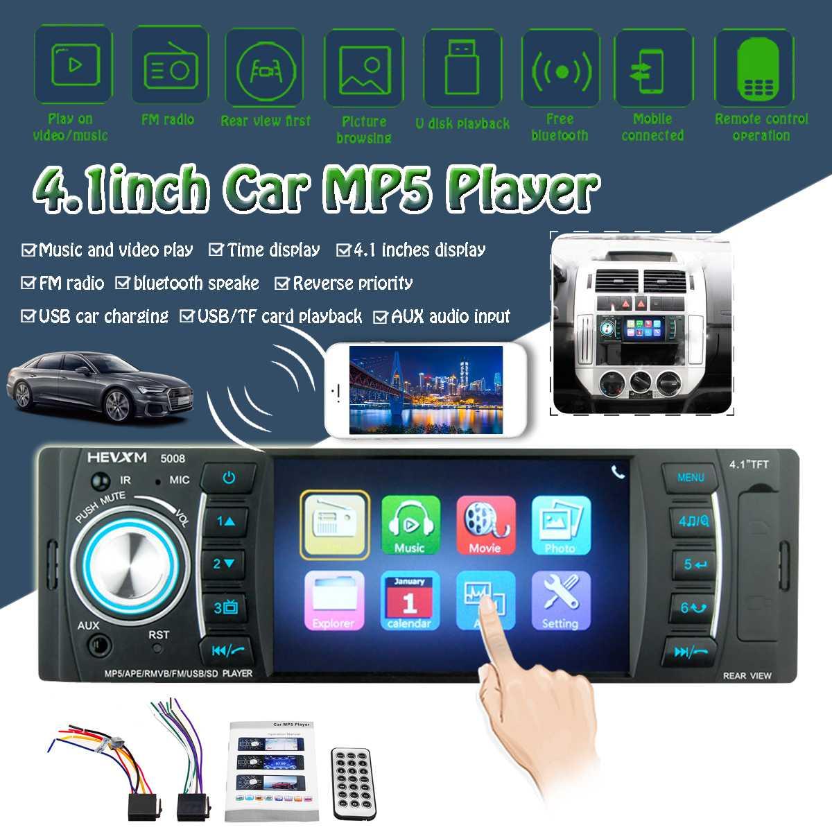 Lecteur MP3 MP5 multimédia Radio stéréo de voiture Audew 1 DIN 4.1 pouces Microphone Audio bluetooth SD USB FM