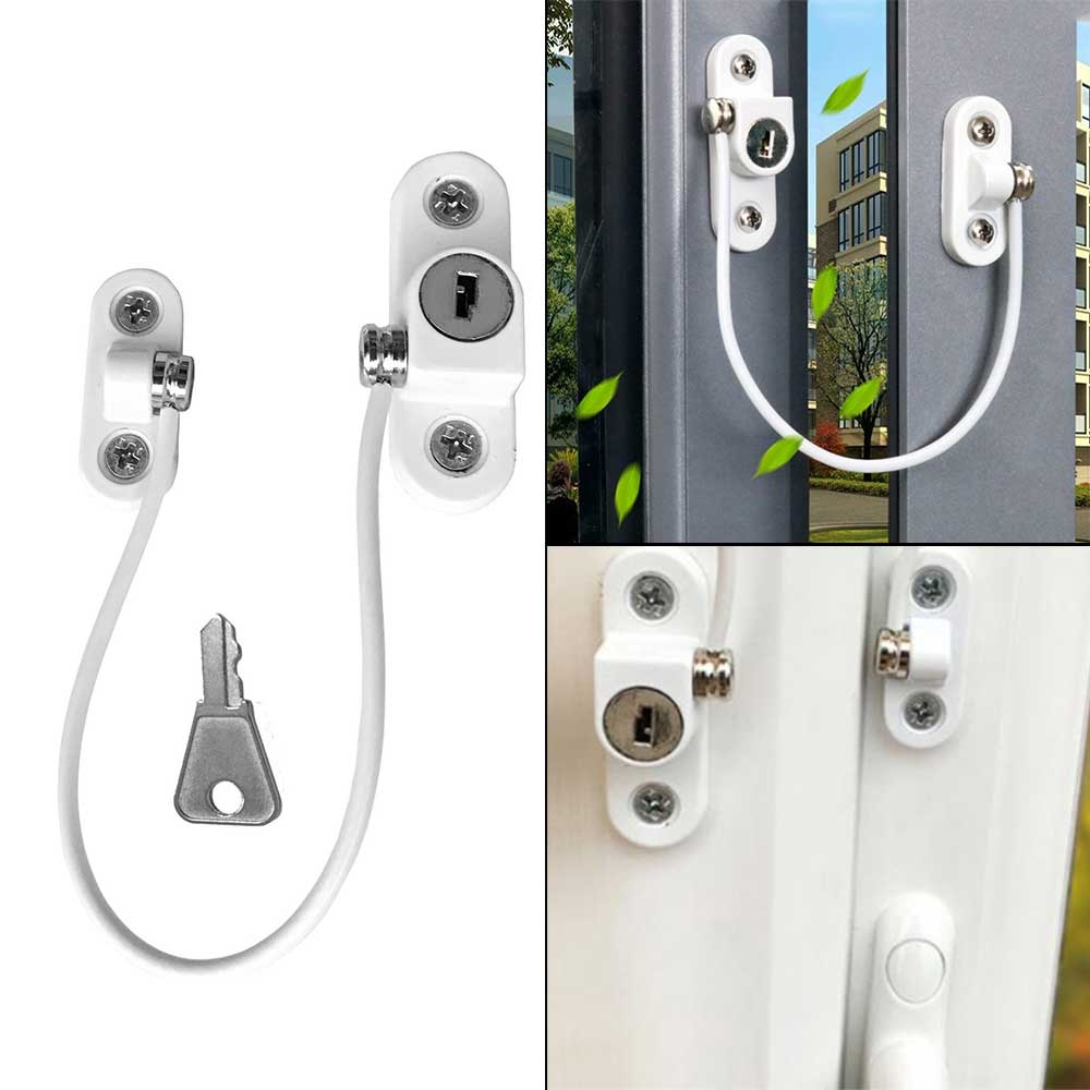 Child Window Restrictor Security Locks Stainless Steel Door Window Limit Lock Prevent Children From Falling Safety Key Lock