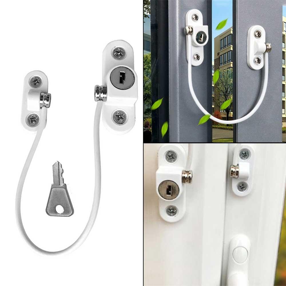 Child Window Restrictor Security Locks Stainless Steel Door Window Limit Lock Prevent Children From Falling Safety Key Lock