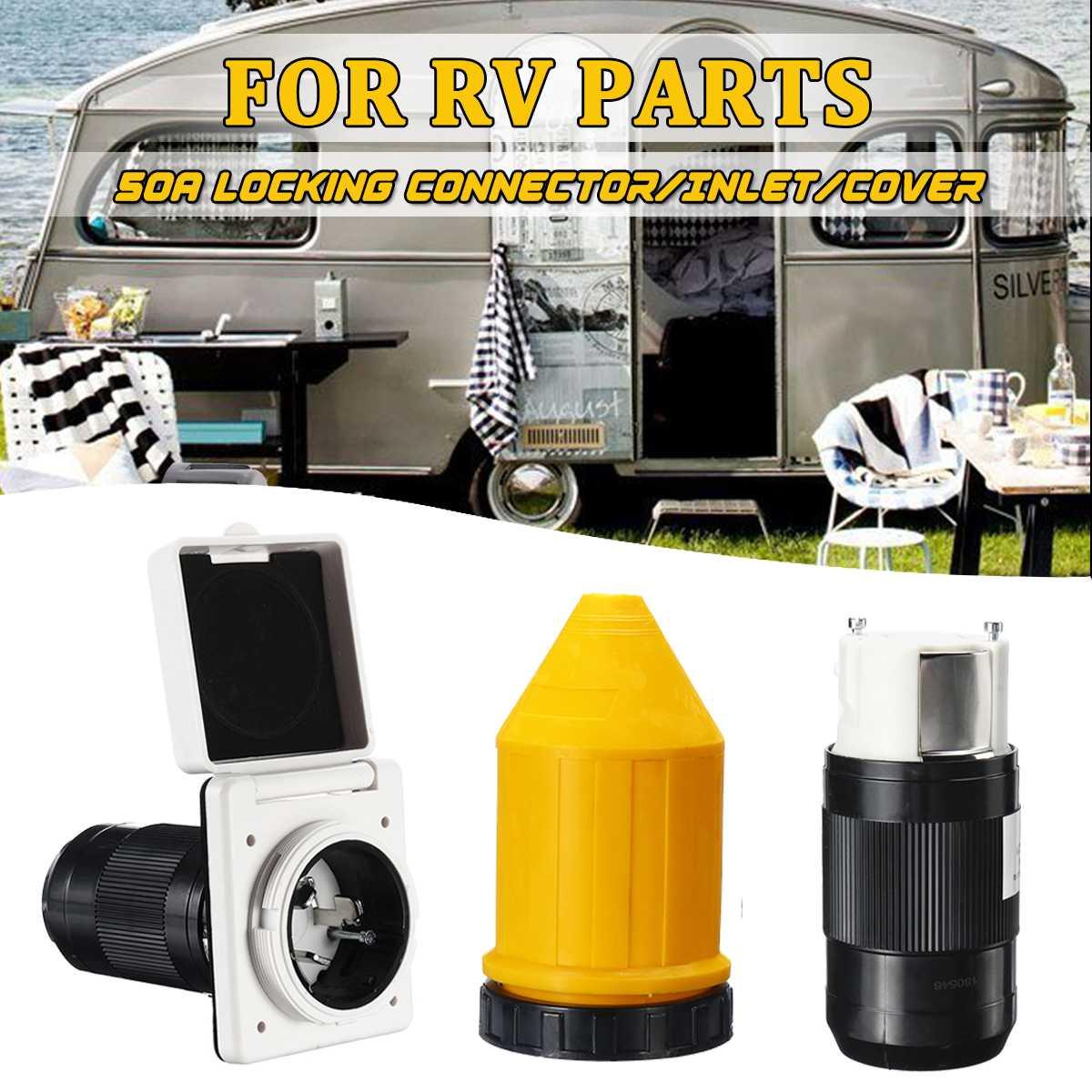 1 ensemble 50Amp 125 V/250 V RV alimentation électrique entrée femelle connecteur de verrouillage caravane bateaux RV accessoires