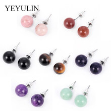 Natural Stone Purple Pink Tiger Eye Round Ball Stud Earrings With Silver Hypoallergenic Ear Pin For Woman Girls Earrings Jewelry(China)