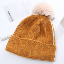 Knit Hat Caps Letter Embroidery Beanie Hats Plush Ball Thicker Warm Cap For Women Winter